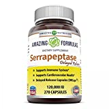Amazing Nutrition Serrapeptase (120, 000 Units - 270 Capsules) - Natural Anti-inflammatory - Promotes Healthy Sinuses - Supports Cardiovascular Immune and Arterial Health