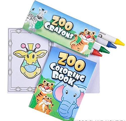 Mini Zoo Animal Theme Coloring sets - 12 per order - includes 12 zoo coloring books and 12 boxes of zoo animal -