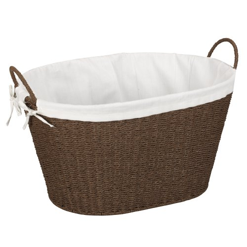 Household Essentials ML-7067 Paper Rope Wicker Laundry Basket with Handles | Comes with Removable Liner | Dark Brown Stain (A Wicker)