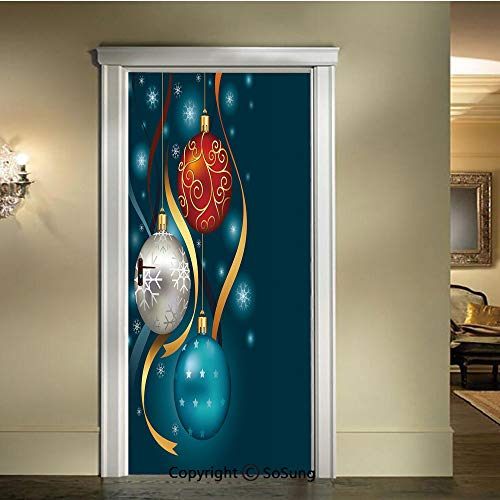 (baihemiya Applique Sticker,Vivid Classical Baubles with Ribbons and Different Patterns Abstract Decorative,W30.3xL78.7inch,for Home Decor Self Adhesive Removable Art Door DecalsPetrol Blue Grey Red)