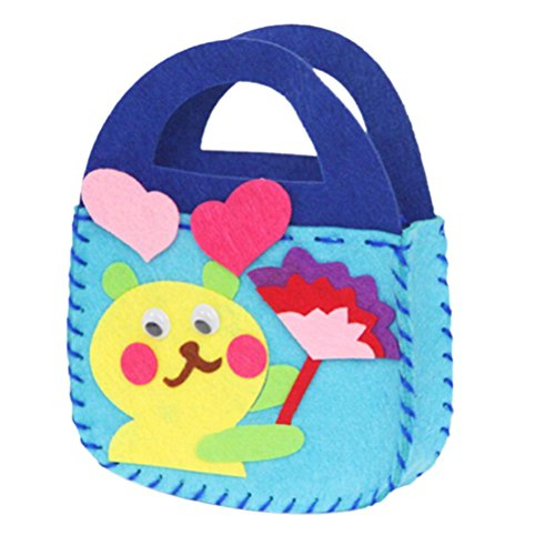 1pcs/Cloth Cartoon Animal Flower Handmade Kids Children DIY Applique Bag Crafts Art Craft Gift Pink Blue.Sewing Kit for Kids .Random Designs Children Lovely Handbag Sewing Pattern Bag