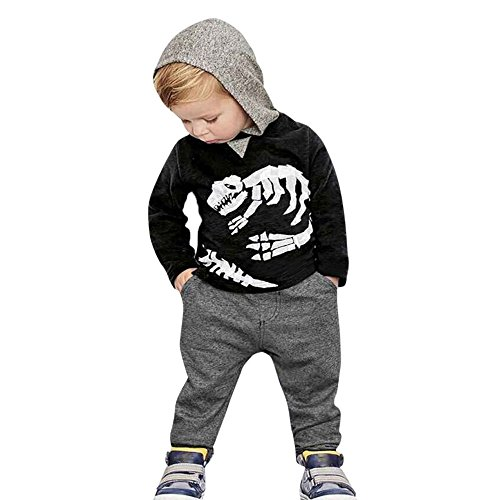 (Xturfuo Long Sleeve Hoodie, Toddler Kids Baby Girls Boys Dinosaur Bones Clothes Set Hooded Tops+Pants Outfit)