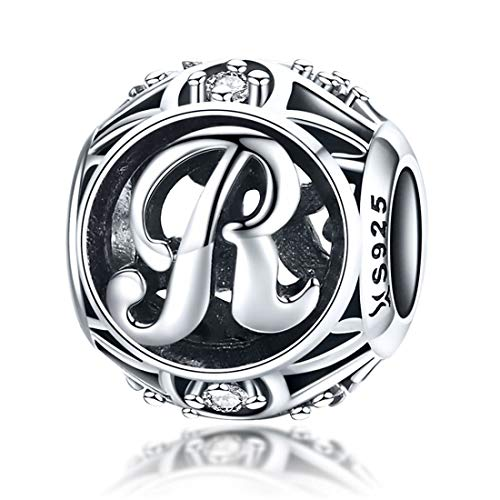 (Initial Letter A-Z Charms Silver for Snake Chain Bracelet Necklace Alphabet Beads (Letter R))