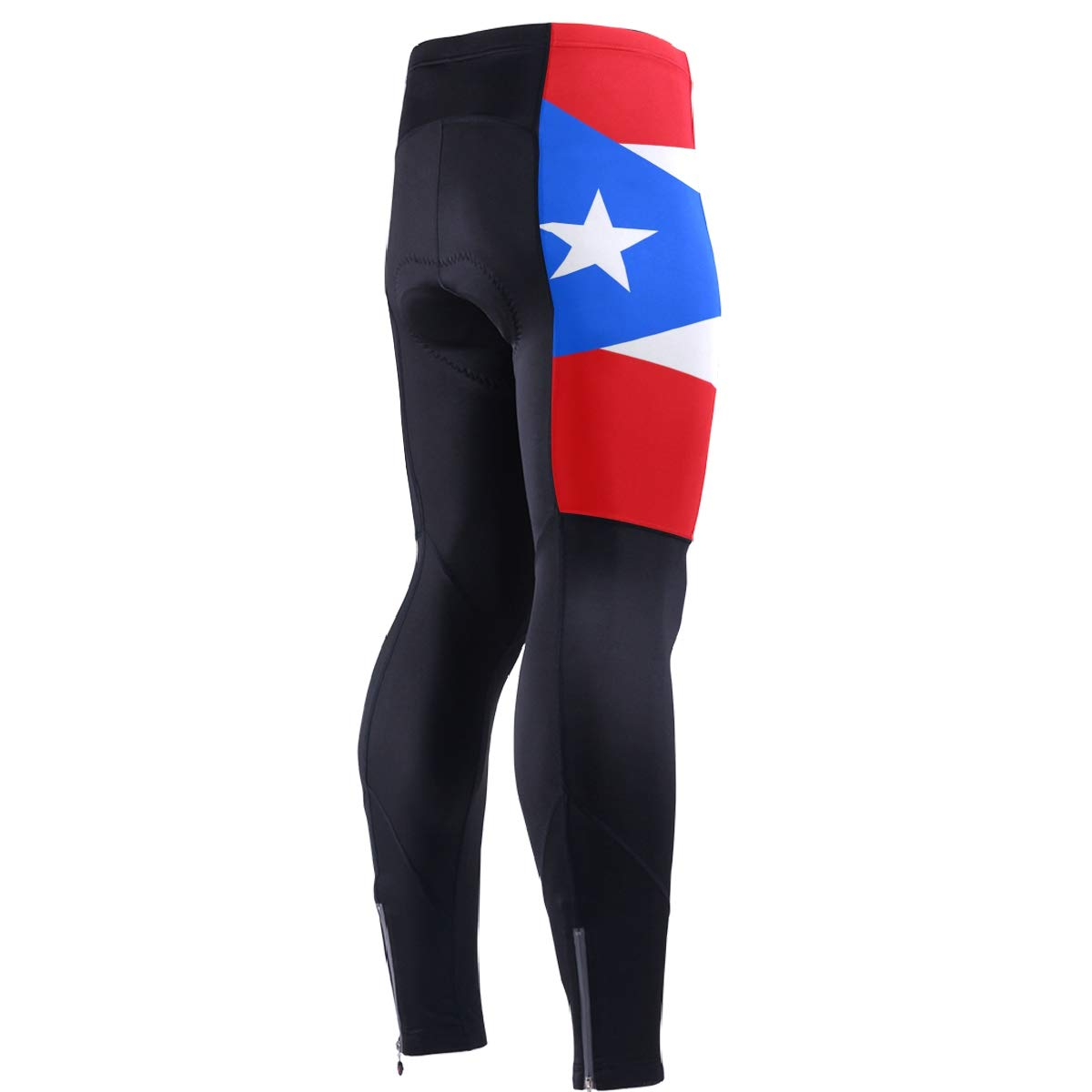 CHINEIN Men's Cycling Jersey Long Sleeve with 3 Rear Pockets Pants Puerto Rico Flag