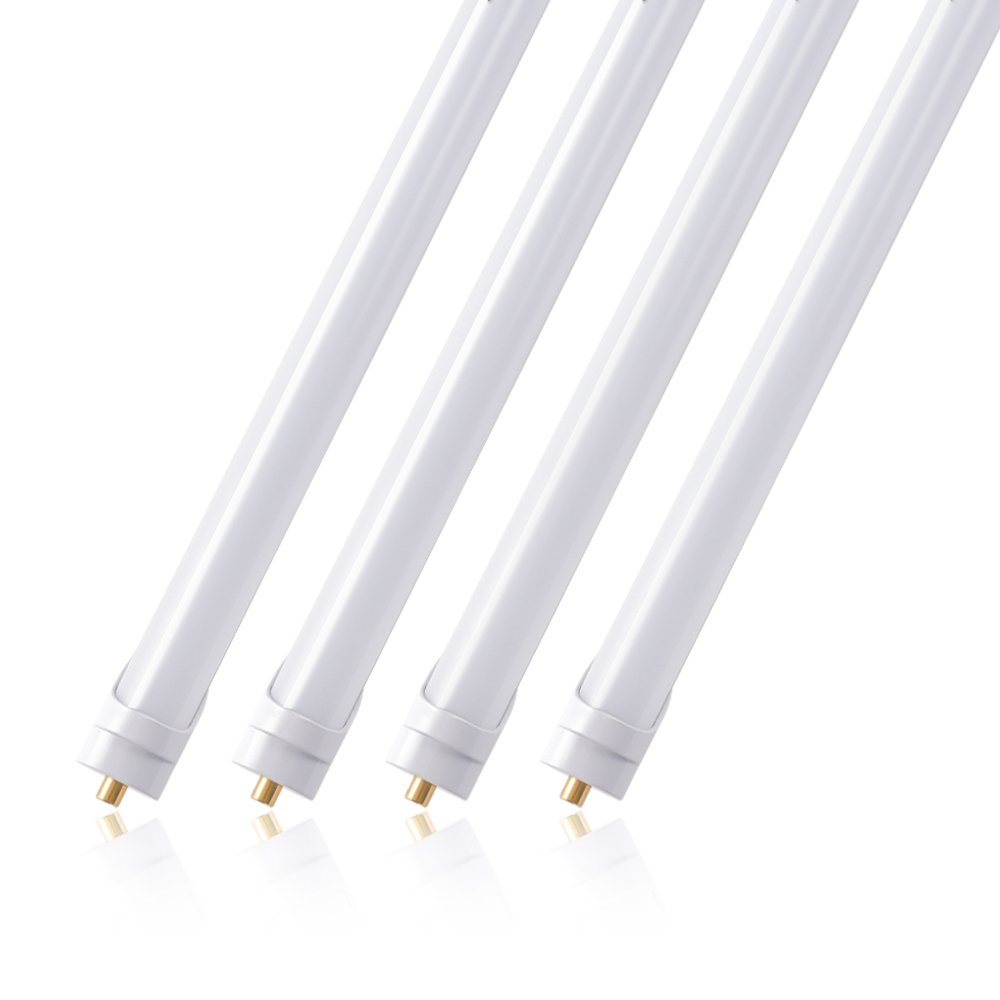 (Pack of 4) Barrina T8 T10 T12 LED Light Tube, 8ft, 44W (100W equivalent), 6500K, 4500 Lumens, Frosted Cover, Dual-Ended Power, Fluorescent Light Bulbs Replacement