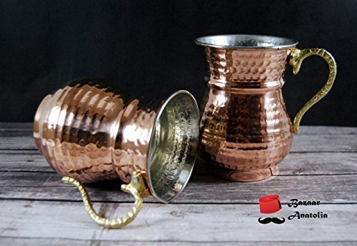 (Set of 2 Solid Turkish Copper Mug, Hammered Solid Copper with Brass Handle)