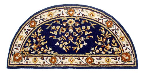 Minuteman International Blue Oriental Half Round Wool Hearth Rug (Fireplace Carpet compare prices)