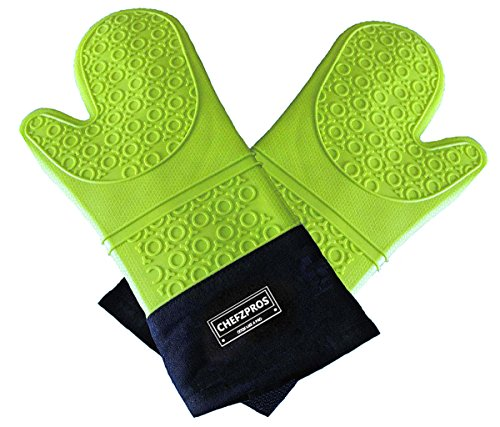 ChefzPros Silicone Cooking Gloves - Premium Quality Heat Resistant Oven Mitts (Pair). Extra Long With Stylish Quilted Inner. Multi-use Barbecue Gloves, Cooking Mitts, Pot Holders. (Oven Mitts For Small Hands compare prices)