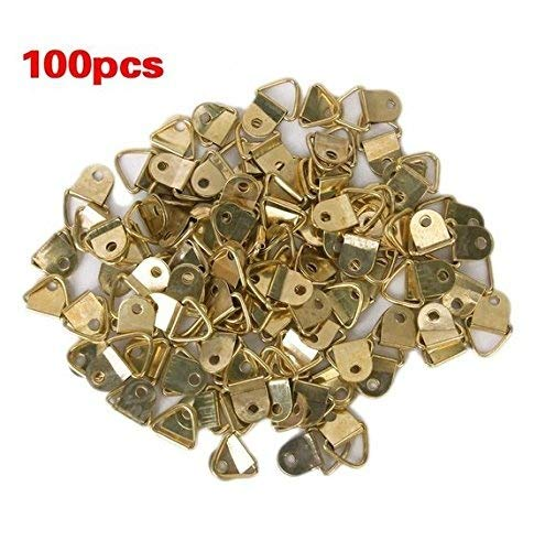 Small Triangle D-Ring Picture Frame Hangers Single Hole with Screws 100 ()