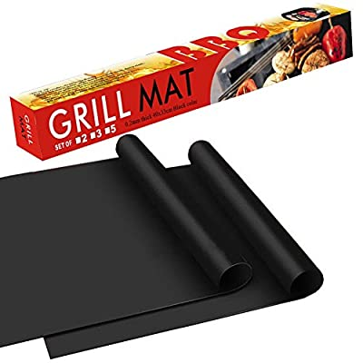 "BBQ Grill Mat - 100% Safe Non Stick BBQ Grill Mat, Easy to Clean and Reusable, Perfect for Charcoal, Electric and Gas Grill, Set of 2 (16""x13"")"