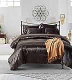 Black Bedding Silk Like Satin Duvet Cover Set Luxury Black Bedding Sets Twin (66''x90'') One Duvet Cover One Pillowcase (Black, Twin)
