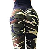 Women's Camo Printed Ruched Butt Lifting Slimming Leggings Stretchy Skinny Yoga Pants Tights