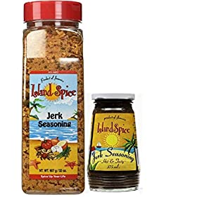 Island Spice Jamaican Jerk Seasoning Bundle: Jerk Seasoning 32oz Restaurant Size, Jerk Seasoning Marinade Hot & Tasty 12oz