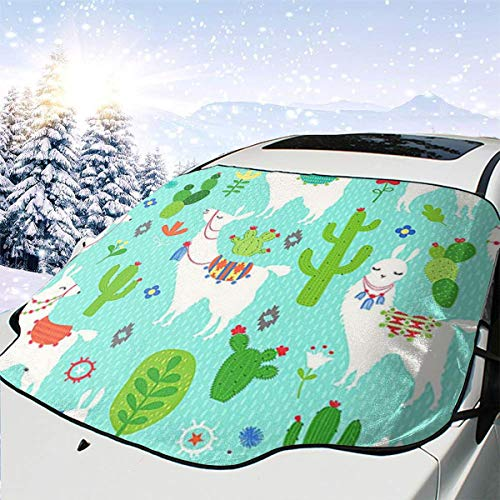 Llama and Cactus Car Front Windshield Cover 147 * 118cm Coated Waterproof Fabric with A 25 * 15cm Beaded Bag Easy Installation No Installation Tools are Required.