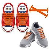 HOMAR Waterproof Reflective No Tie Kids Shoe Laces Elastic Athletic Shoelace for Sneakers Boots Skateboard Hiking Sport Shoe - Orange