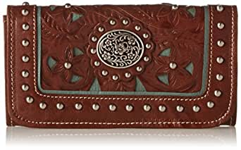 American West Lady Lace Tri-Fold Wallet,Antique Brown/Turquoise,One Size