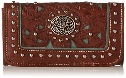 American West Lady Lace Tri-fold Wallet, Antique Brown/Turquoise