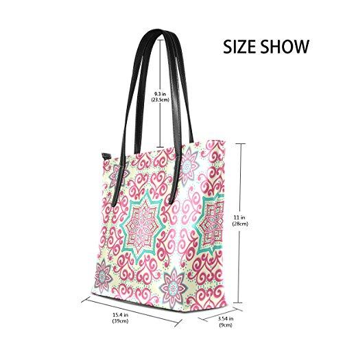 COOSUN Blumenmuster PU Leder Schultertasche Handtasche und Handtaschen Tasche für Frauen