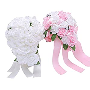 Bodarind Rose Waterfalls Design Artificial Flowers Rose Rhinestone Bridal Bouquet for Wedding 46