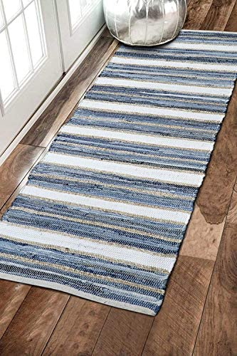 The Home Talk Contemporary Bohemian Indoor Jute-Denim Rag Area Rug Hand Washable Handmade from Recycled Fabrics- Unique for Bedroom Living Room Kitchen Nursery 2 x5 , Denim Rag
