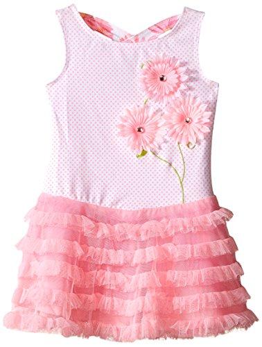Sundress Mack Kate (Kate Mack Toddler Girls' Dottie Daisy Drop Waist Dress, Pink, 2T)