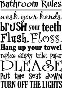 Bathroom Rules Wash Your Hands Brush Your Teeth Cute Wall