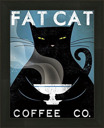 Kitty Cat Fat - Fat Cat Coffee Co by Ryan Fowler 13x16 Black Kitty Advertisement Ad Sign Framed Art Print Picture