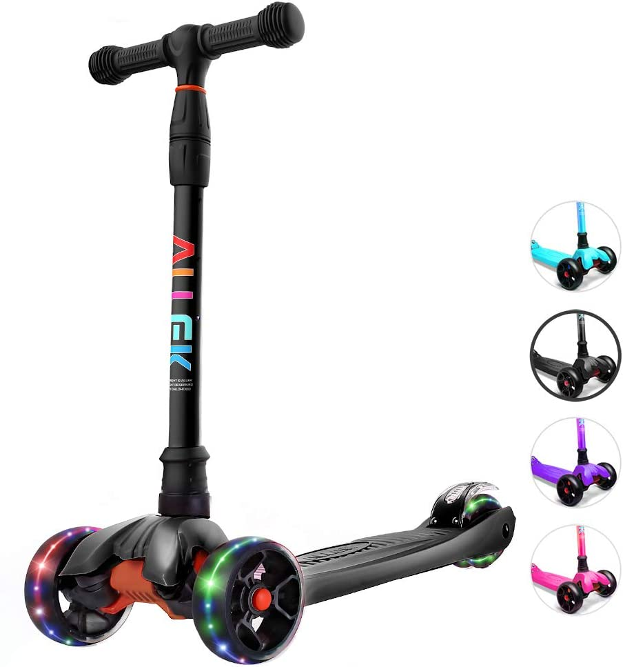 Allek Kick Scooter B02, Lean 'N Glide Scooter with Extra Wide PU Light-Up Wheels and 4 Adjustable Heights for Children from 3-14yrs (Black)