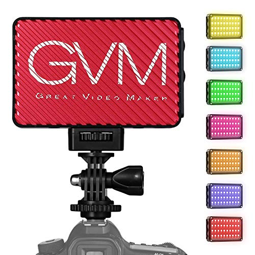 LED Camera Light,GVM Dimmable Ultra LED Light on Panel Digital Camera/SLR Camera/Camcorder Video Light with Built-in Battery,Charger,High Brightness,2000k-5600k Multi-Color and White Magnet Filters