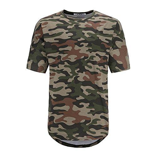 Manche Blouse Homme Tunique Personnalité Camouflage Svelte Respirant Shirt Impression Tops Pour Tee Sport Unie shirt Ronamick Couleur Courte T Slim Coupe EHwUPqU