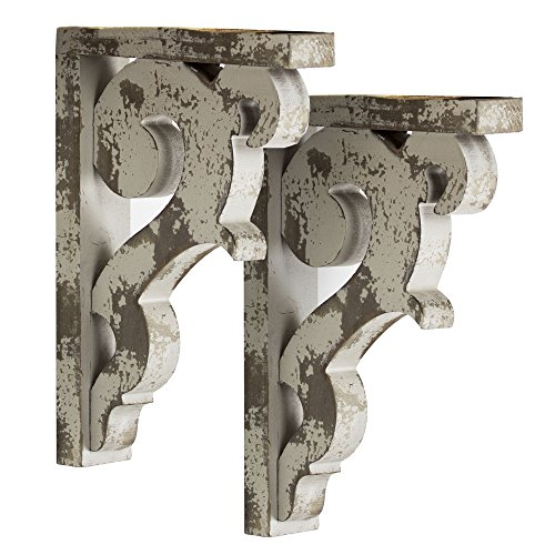 - American Art Décor Wooden Corbels Shelf Brackets Vintage Farmhouse Decor (Set of 2 - Gray)