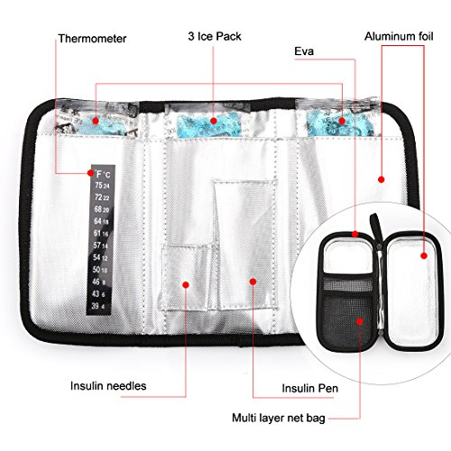 Dainayw Insulin Carrying Case, EVA Insulin Cooler Bag, Diabetic Travel Bag, Temperature Display, Waterproof, Medical with 3 Ice Packs (Black) by dainayw (Image #3)