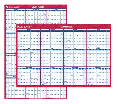 AT-A-GLANCE Recycled Vertical/Horizontal Wall Planner, 24 x 36 Inches, White and Cream, 2011 (PM26-28)