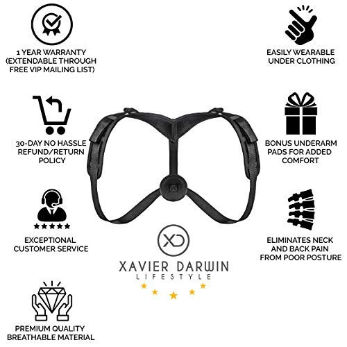 Back Posture Corrector for Women, Men & Kids by XD Lifestyle -  Easy-Adjustable Front Strap - Discreetly Wearable Support Brace