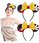 2 Pack Mouse Ears Bow Headbands,Mouse Ears Headbands for Women, Mouse Ears Headbands,Glitter Part...