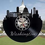 Washington Dc Souvenirs Vinyl Record Wall Clock - Decorate Your Home with Modern Art - Best Gift for Man, Woman, Boyfriend and Girlfriend