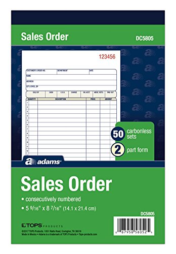 (Adams Sales Order Book, 2-Part, Carbonless, White/Canary, 5-9/16 x 8-7/16 Inches, 50 Sets per Book (DC5805) )
