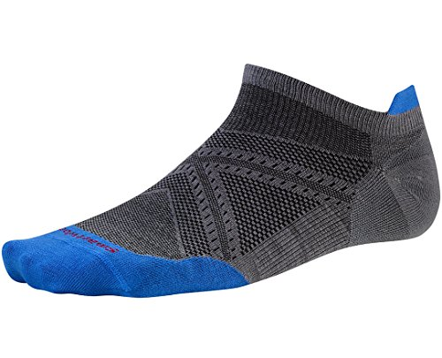 Smartwool Men's PhD Run Ultra Light Micro Socks (Graphite/Bright Blue) Large (Smartwool Run Socks)
