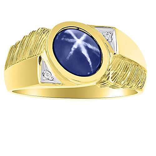 (Mens Classic Oval Blue Star Sapphire & Diamond Ring Set in Yellow Gold Plated Silver)
