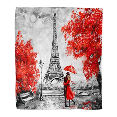 Emvency Flannel Throw Blanket Oil Painting Paris European City Landscape France Eiffel Tower Black White and Red Modern Couple 60x80 Inch Lightweight Cozy Plush Fluffy Warm Fuzzy - Tower Flannel Eiffel