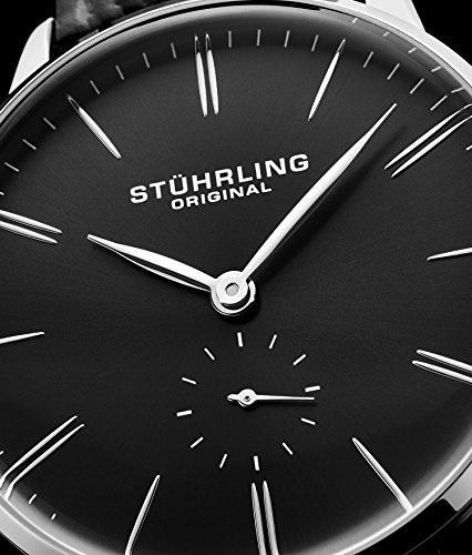 Stuhrling Original Mens Dress Watch, Leather Strap, Vintage Pie-Pan Dial with Seconds Sub-Dial, Stainless Steel Analog Japanese Quartz Watch, 849 Series (Black) by Stuhrling Original (Image #2)