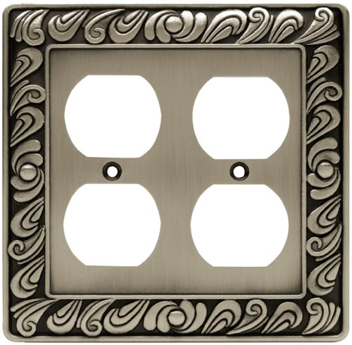 Franklin Brass 64196 Paisley Double Duplex Outlet Wall Plate/Switch Plate/Cover, Brushed Satin Pewter (Double Duplex Solid Brass)