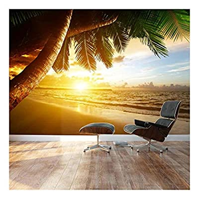 Sunset Over Palm Tree Paradise Ashore - Landscape - Wall Mural, Removable Sticker, Home Decor - 100x144 inches