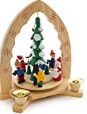 BRUBAKER Christmas Pyramid 12 Inches Nativity Play - Christmas Scene Under The Christmas Tree - Handpainted Figures - Limited Edition 500 Pieces Only - Including 20 Candles (Made in Germany)