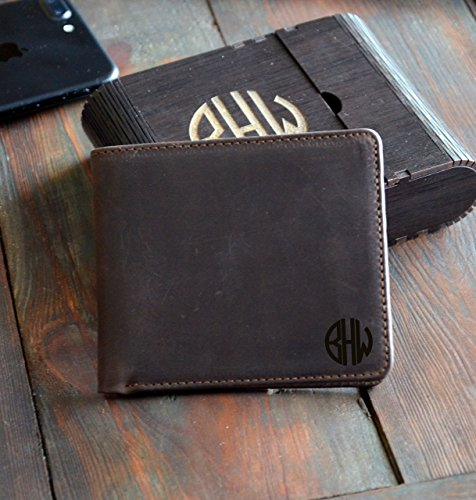 Gift Boyfriend Husband Wallet Mens Monogram Leather Custom Engraved Box Gift for Groom Boss Dad Father 3rd Anniversary gift – By Enjoy The Wood – 12 m…