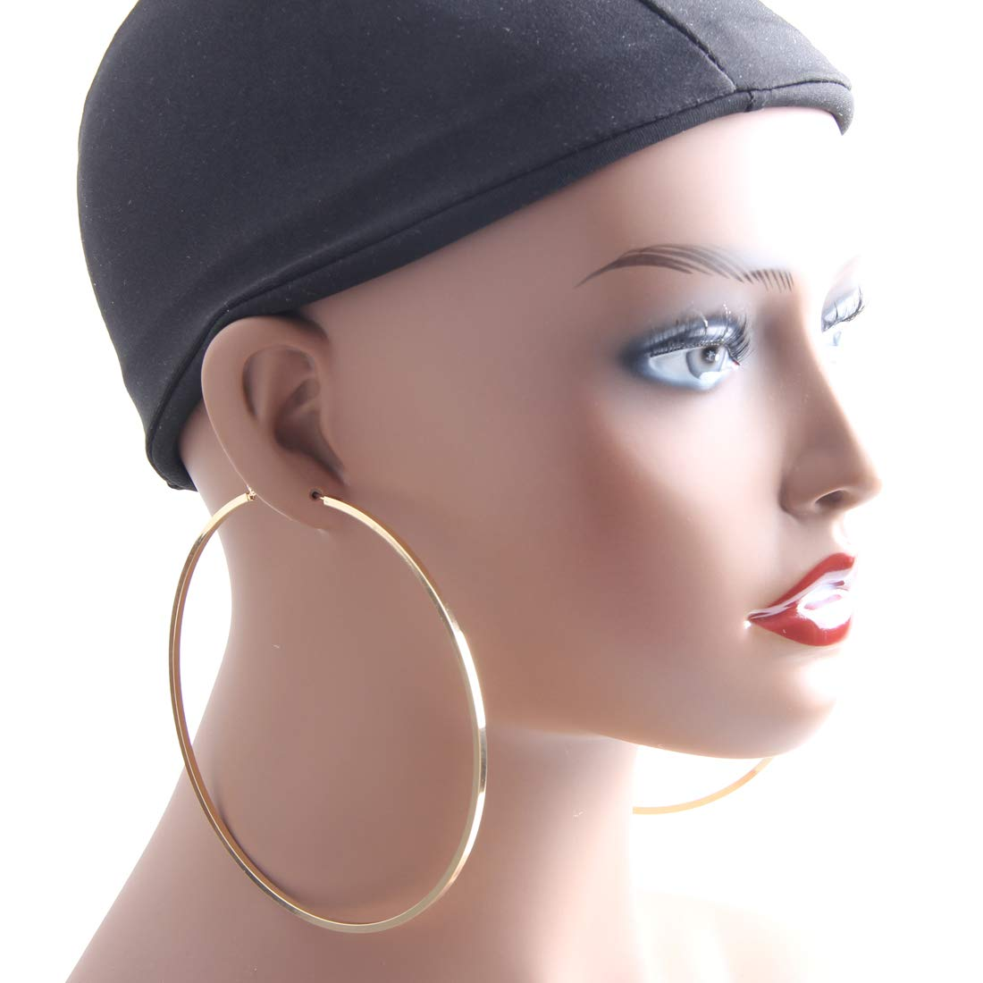 Yeslady Big Gold Hoop Earrings,Square Line Round Hoop Earrings For Women Girls Gift 100mm B07H4MTTPS_US