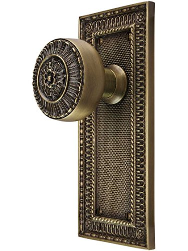 House of Antique Hardware R-01MG-PSN-P-PA38-AB Pisano-Design Door Set with Matching Knobs Passage - 2 3/8 in Antique Brass