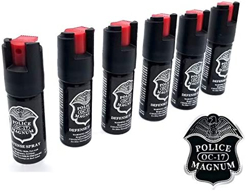 Police 6 X Magnum OC-17 Pepper Spray 1 2oz Ounce w Safety Lock for Self Defense Security