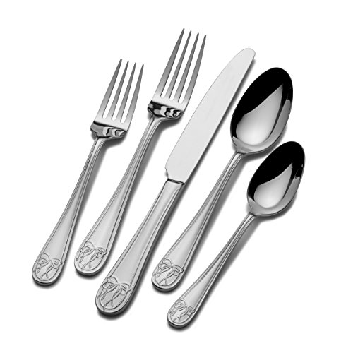 Mikasa Love Story 5 Piece Place Setting Flatware Set, Stainless Steel - Accent Cs 5 Piece