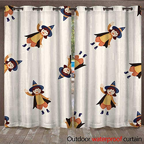RenteriaDecor Outdoor Ultraviolet Protective Curtains Halloween Party Costume Cartoon Seamless Pattern Background W96 x L108]()